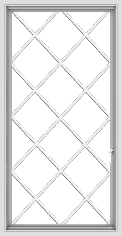 WDMA 28x54 (27.5 x 53.5 inch) uPVC Vinyl White push out Casement Window without Grids with Diamond Grills