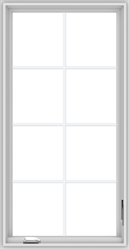 WDMA 28x54 (27.5 x 53.5 inch) White Vinyl uPVC Crank out Casement Window with Colonial Grids
