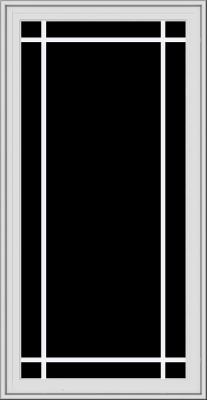 WDMA 28x54 (27.5 x 53.5 inch) White Vinyl uPVC Crank out Casement Window with Prairie Grilles
