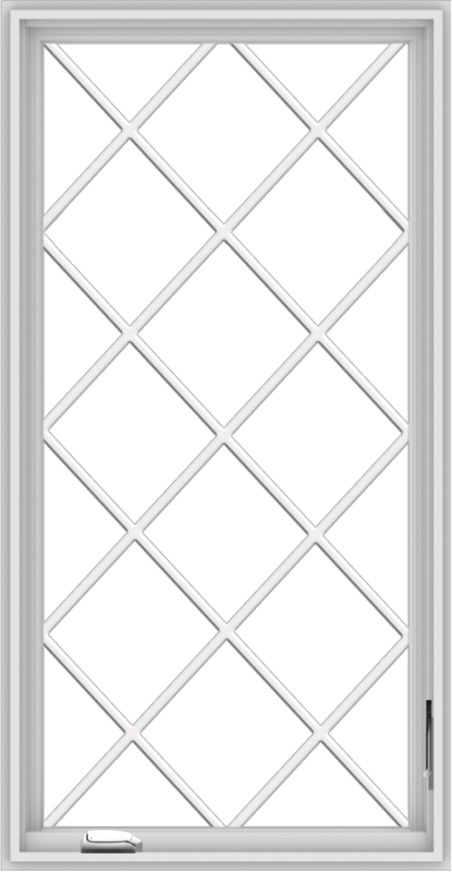 WDMA 28x54 (27.5 x 53.5 inch) White Vinyl uPVC Crank out Casement Window without Grids with Diamond Grills