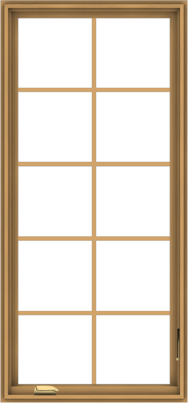 WDMA 28x60 (27.5 x 59.5 inch) Pine Wood Dark Grey Aluminum Crank out Casement Window with Colonial Grids