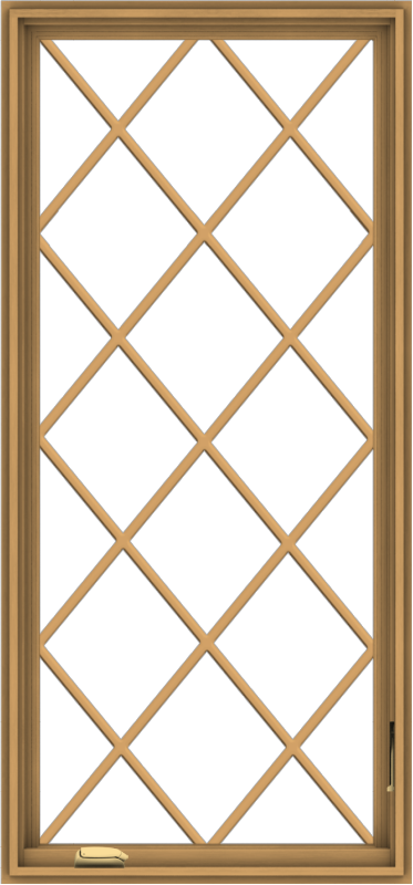 WDMA 28x60 (27.5 x 59.5 inch) Pine Wood Dark Grey Aluminum Crank out Casement Window without Grids with Diamond Grills