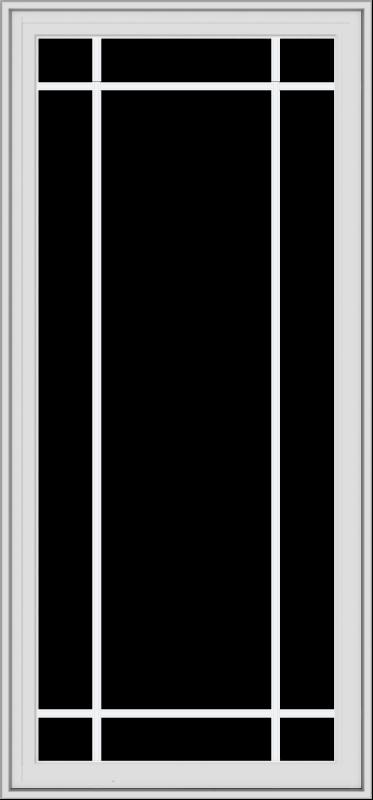 WDMA 28x60 (27.5 x 59.5 inch) White Vinyl uPVC Crank out Casement Window with Prairie Grilles