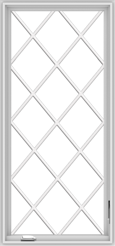 WDMA 28x60 (27.5 x 59.5 inch) White Vinyl uPVC Crank out Casement Window without Grids with Diamond Grills