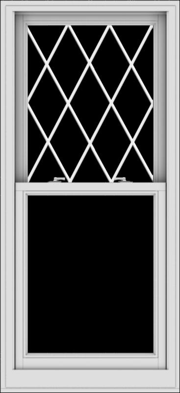 WDMA 28x61 (27.5 x 60.5 inch)  Aluminum Single Double Hung Window with Diamond Grids