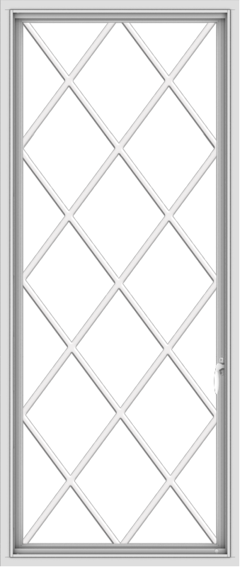 WDMA 28x66 (27.5 x 65.5 inch) White Vinyl uPVC Push out Casement Window without Grids with Diamond Grills