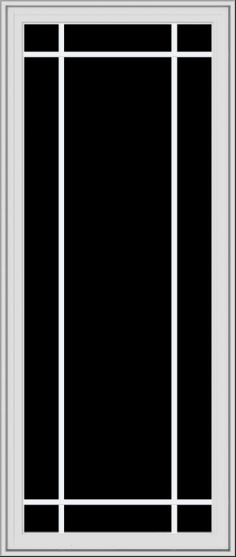 WDMA 28x66 (27.5 x 65.5 inch) White Vinyl uPVC Crank out Casement Window with Prairie Grilles