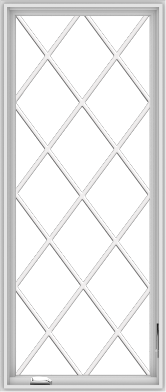 WDMA 28x66 (27.5 x 65.5 inch) White Vinyl uPVC Crank out Casement Window without Grids with Diamond Grills