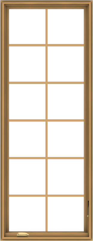 WDMA 28x72 (27.5 x 71.5 inch) Pine Wood Dark Grey Aluminum Crank out Casement Window with Colonial Grids