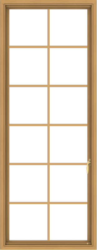 WDMA 28x72 (27.5 x 71.5 inch) Pine Wood Light Grey Aluminum Push out Casement Window with Colonial Grids
