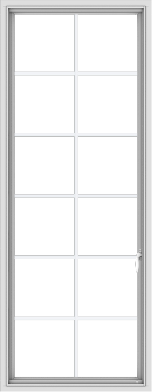 WDMA 28x72 (27.5 x 71.5 inch) White Vinyl uPVC Push out Casement Window with Colonial Grids