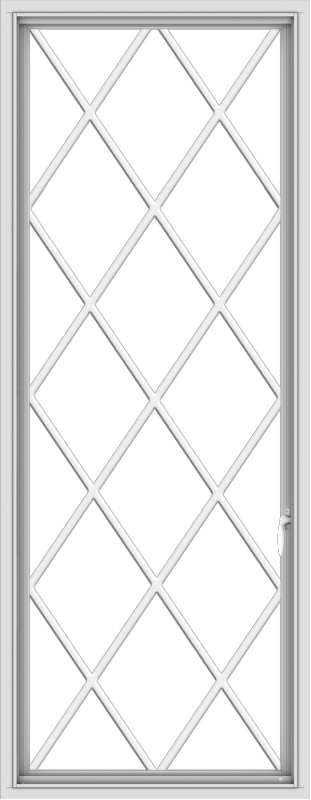 WDMA 28x72 (27.5 x 71.5 inch) White Vinyl uPVC Push out Casement Window without Grids with Diamond Grills