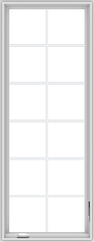 WDMA 28x72 (27.5 x 71.5 inch) White Vinyl uPVC Crank out Casement Window with Colonial Grids