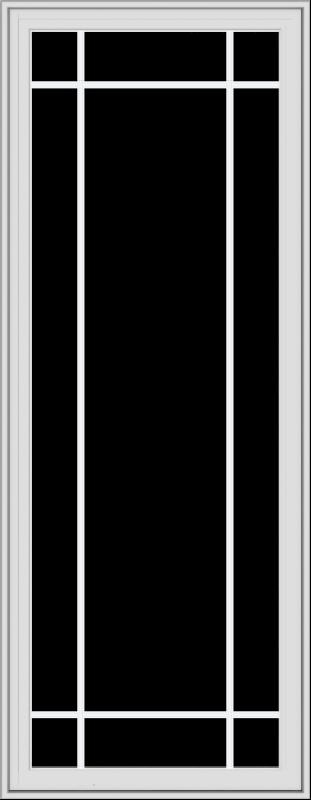 WDMA 28x72 (27.5 x 71.5 inch) White Vinyl uPVC Crank out Casement Window with Prairie Grilles
