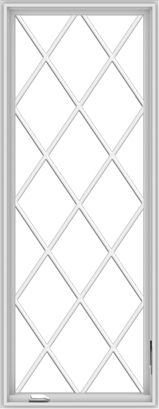 WDMA 28x72 (27.5 x 71.5 inch) White Vinyl uPVC Crank out Casement Window without Grids with Diamond Grills