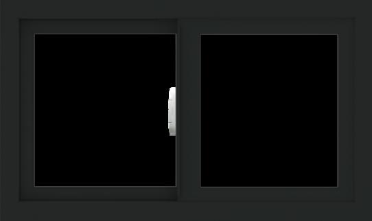 WDMA 30x18 (29.5 x 17.5 inch) Vinyl uPVC Black Slide Window without Grids Interior