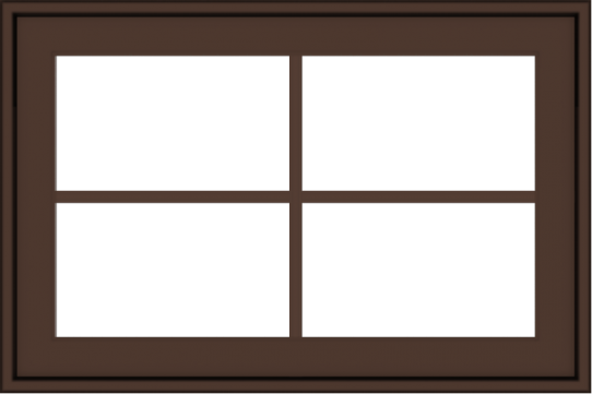 WDMA 30x20 (29.5 x 19.5 inch) Oak Wood Dark Brown Bronze Aluminum Crank out Awning Window with Colonial Grids Exterior