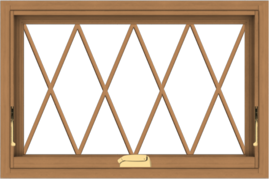 WDMA 30x20 (29.5 x 19.5 inch) Oak Wood Dark Brown Bronze Aluminum Crank out Awning Window without Grids with Diamond Grills
