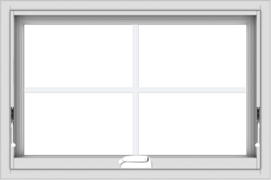 WDMA 30x20 (29.5 x 19.5 inch) White Vinyl uPVC Crank out Awning Window with Colonial Grids Interior