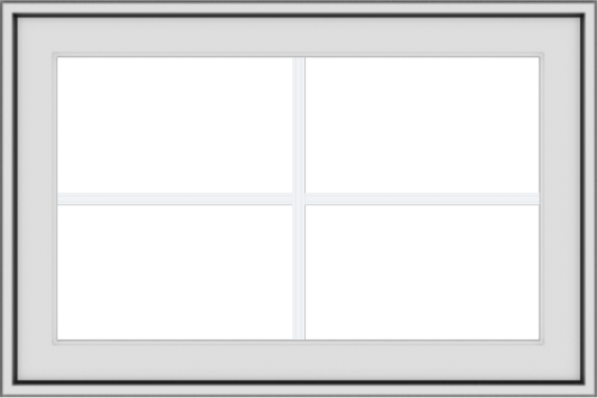 WDMA 30x20 (29.5 x 19.5 inch) White uPVC Vinyl Push out Awning Window with Colonial Grids Exterior