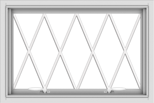 WDMA 30x20 (29.5 x 19.5 inch) White uPVC Vinyl Push out Awning Window without Grids with Diamond Grills