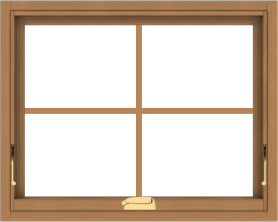 WDMA 30x24 (29.5 x 23.5 inch) Oak Wood Dark Brown Bronze Aluminum Crank out Awning Window with Colonial Grids Interior