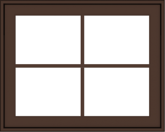 WDMA 30x24 (29.5 x 23.5 inch) Oak Wood Dark Brown Bronze Aluminum Crank out Awning Window with Colonial Grids Exterior