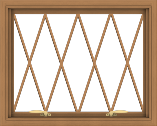 WDMA 30x24 (29.5 x 23.5 inch) Oak Wood Green Aluminum Push out Awning Window without Grids with Diamond Grills