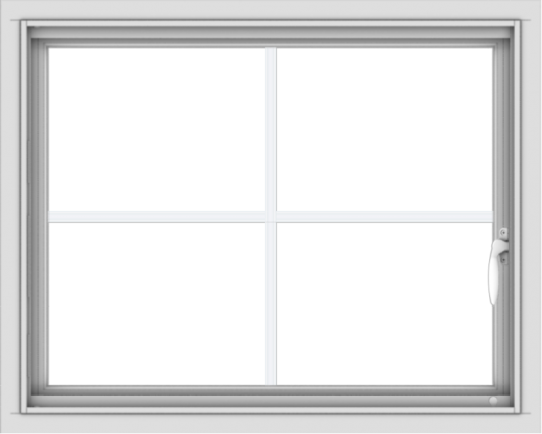 WDMA 30x24 (29.5 x 23.5 inch) Vinyl uPVC White Push out Casement Window with Colonial Grids