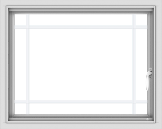 WDMA 30x24 (29.5 x 23.5 inch) Vinyl uPVC White Push out Casement Window with Prairie Grilles