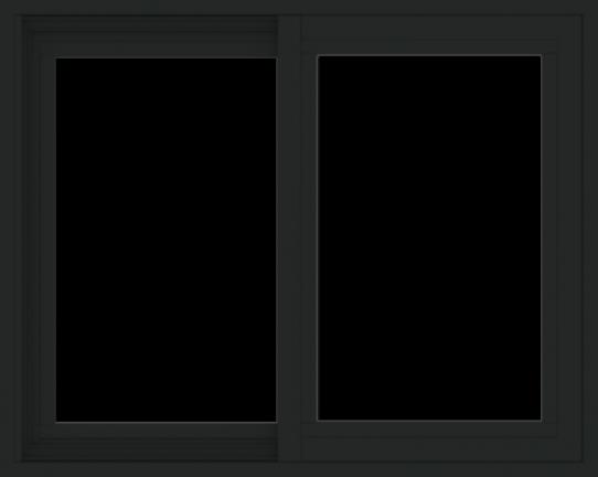 WDMA 30x24 (29.5 x 23.5 inch) Vinyl uPVC Black Slide Window without Grids Exterior