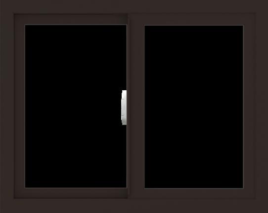WDMA 30x24 (29.5 x 23.5 inch) Vinyl uPVC Dark Brown Slide Window without Grids Interior