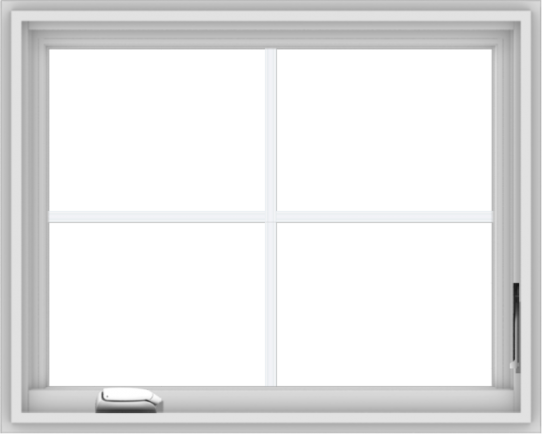 WDMA 30x24 (29.5 x 23.5 inch) White Vinyl uPVC Crank out Casement Window with Colonial Grids