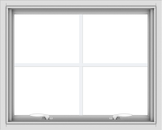 WDMA 30x24 (29.5 x 23.5 inch) White uPVC Vinyl Push out Awning Window with Colonial Grids Interior