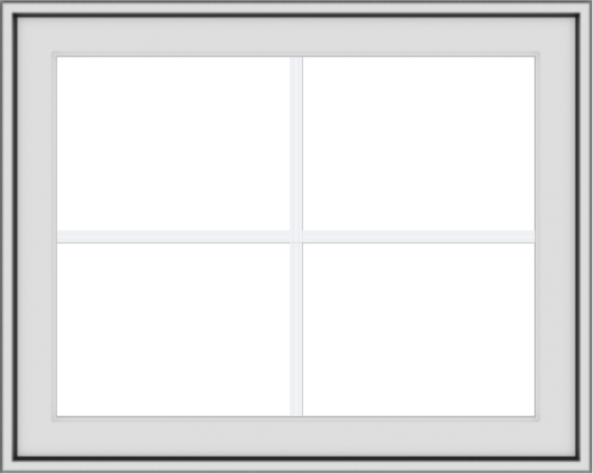 WDMA 30x24 (29.5 x 23.5 inch) White uPVC Vinyl Push out Awning Window with Colonial Grids Exterior