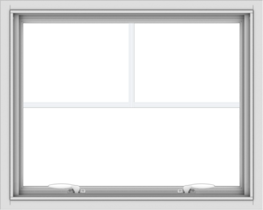 WDMA 30x24 (29.5 x 23.5 inch) White uPVC Vinyl Push out Awning Window with Fractional Grilles