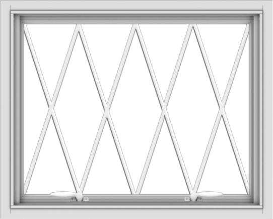 WDMA 30x24 (29.5 x 23.5 inch) White uPVC Vinyl Push out Awning Window without Grids with Diamond Grills