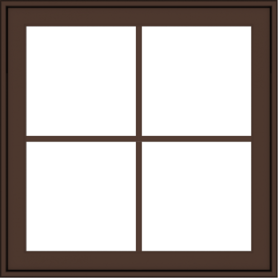 WDMA 30x30 (29.5 x 29.5 inch) Oak Wood Dark Brown Bronze Aluminum Crank out Awning Window with Colonial Grids Exterior