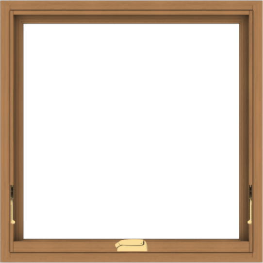 WDMA 30x30 (29.5 x 29.5 inch) Oak Wood Dark Brown Bronze Aluminum Crank out Awning Window without Grids