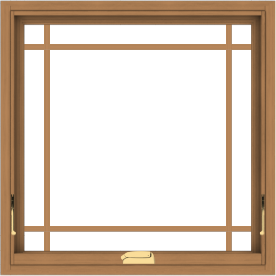 WDMA 30x30 (29.5 x 29.5 inch) Oak Wood Dark Brown Bronze Aluminum Crank out Awning Window with Prairie Grilles