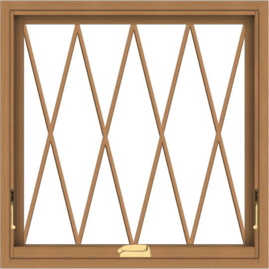 WDMA 30x30 (29.5 x 29.5 inch) Oak Wood Dark Brown Bronze Aluminum Crank out Awning Window without Grids with Diamond Grills