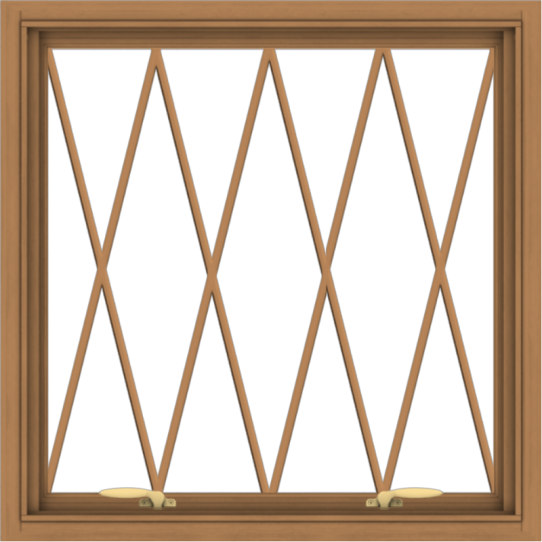 WDMA 30x30 (29.5 x 29.5 inch) Oak Wood Green Aluminum Push out Awning Window without Grids with Diamond Grills