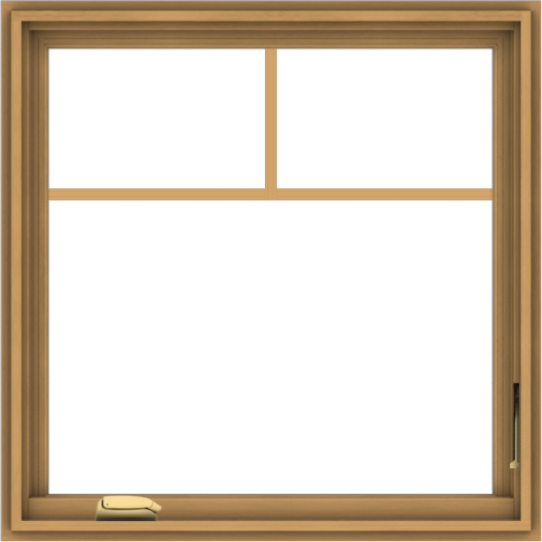 WDMA 30x30 (29.5 x 29.5 inch) Pine Wood Dark Grey Aluminum Crank out Casement Window with Fractional Grilles