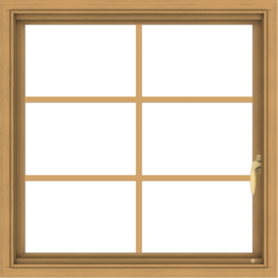 WDMA 30x30 (29.5 x 29.5 inch) Pine Wood Light Grey Aluminum Push out Casement Window with Colonial Grids