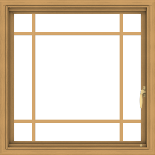 WDMA 30x30 (29.5 x 29.5 inch) Pine Wood Light Grey Aluminum Push out Casement Window with Prairie Grilles