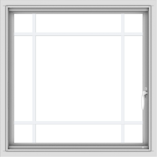 WDMA 30x30 (29.5 x 29.5 inch) Vinyl uPVC White Push out Casement Window with Prairie Grilles