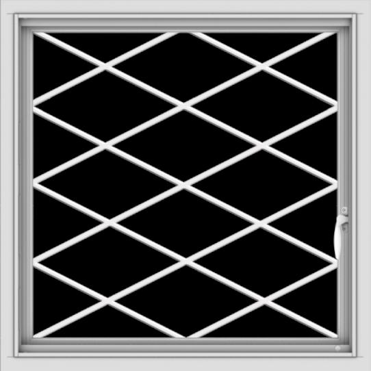 WDMA 30x30 (29.5 x 29.5 inch) Vinyl uPVC White Push out Casement Window  with Diamond Grills