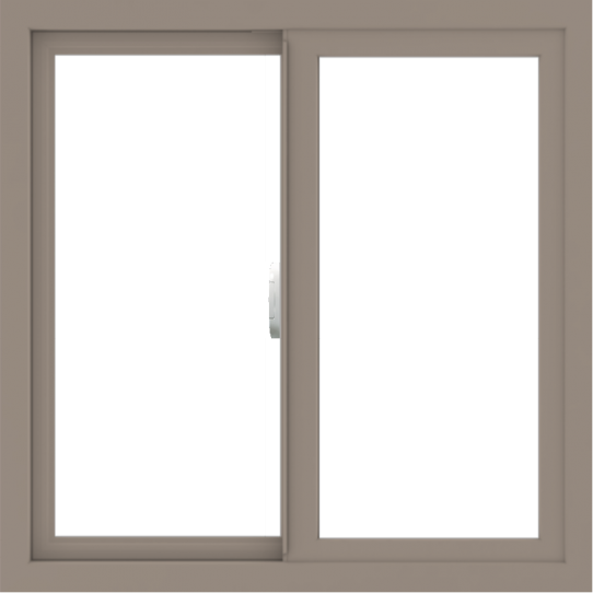 WDMA 30x30 (29.5 x 29.5 inch) Vinyl uPVC Brown Slide Window without Grids Interior