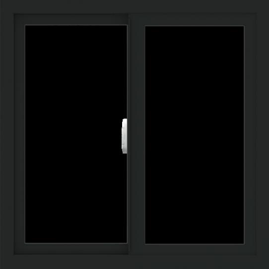 WDMA 30x30 (29.5 x 29.5 inch) Vinyl uPVC Black Slide Window without Grids Interior