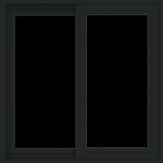 WDMA 30x30 (29.5 x 29.5 inch) Vinyl uPVC Black Slide Window without Grids Exterior